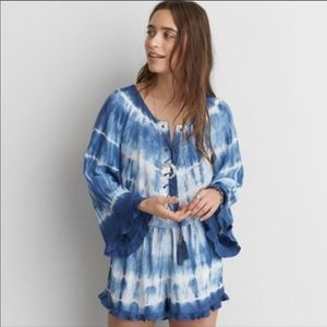 American Eagle Blue Tie Dye Lace Up Romper S NWT